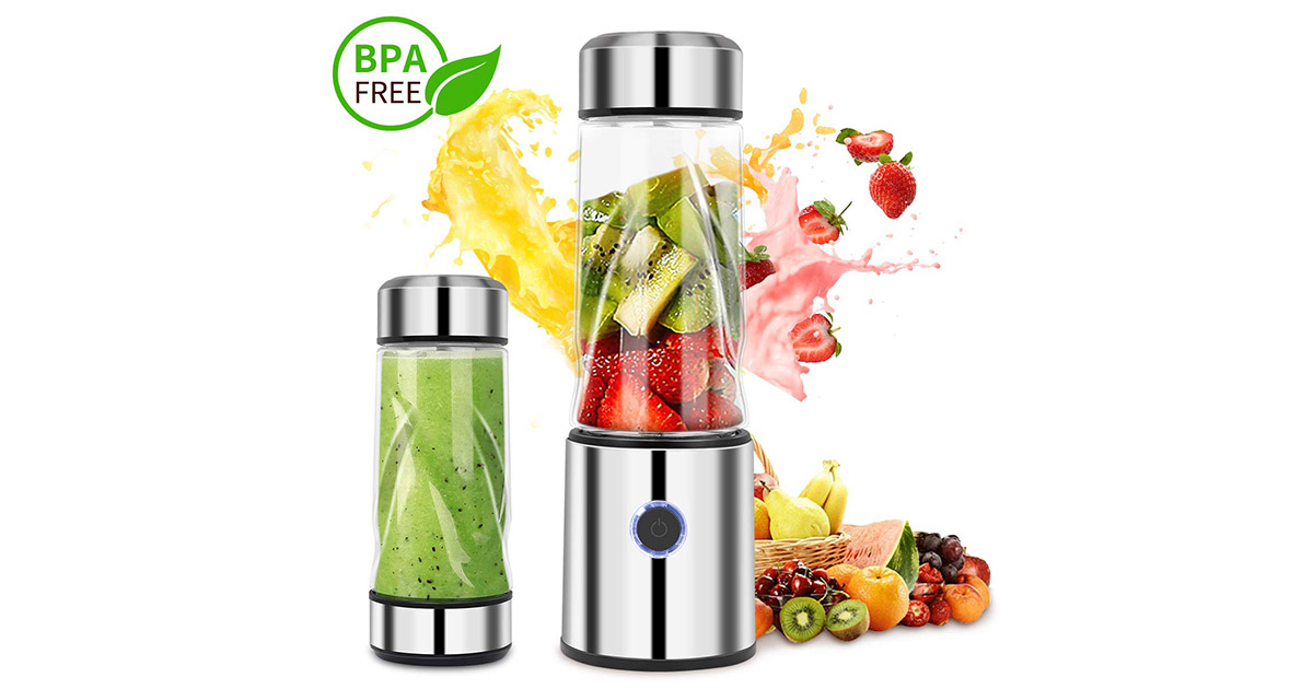 iFedio USB Rechargeable Personal Portable Smoothie Silver Blender image