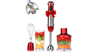 KOIOS HB 2046 Powerful 800W 4-in-1 Hand Immersion Red Stainless Steel Stick Blender image